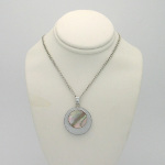 New Old Stock 1970s Silver Tone Abalone Shell Medallion Necklace