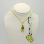 New Old Stock 1970&#39s Gold Tone Ichthys Jade Cab Necklace