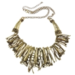 Antiqued Gold Tone Trumpet Blossom & Tendril Statement Necklace