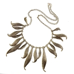 Gold Tone Statement Necklace Striated Dangle Leaves