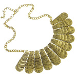 Victorian Style Gold Tone Feather Fan Statement Necklace