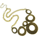 Retro 1960&#39s Modern Beaded Circle Statement Necklace ~ Gold