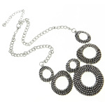 Retro 1960&#39s Modern Beaded Circle Statement Necklace ~ Silver