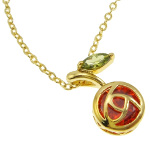 18K Gold Plate Red Cherry Fruit CZ Chain Necklace