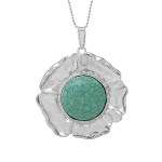 Silver Tone Turquoise Cab Flower Blossom Ball Chain Necklace