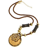 Boho Chic Gold Tone Sienna Crystal Bead & Flower Necklace