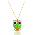 Retro 1960's Multi-Color Enamel Owl Pendant Gold Tone Necklace