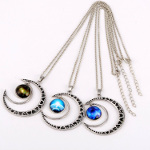 Mixed Silver Tone Crescent Moon & Mystical Pendant Necklace