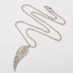 Silver Tone Metal Alloy Angel Wing Pendant Necklace