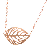 Silhouette Leaf Necklace ~ 14K Rose Gold Vermeil Sterling Silver