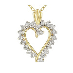 14K Gold over Sterling Silver Vermeil Diamond Heart Necklace