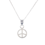 Sterling Silver Peace Sign Hippy Boho Pendant Necklace