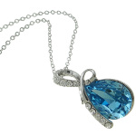 Rhodium Plated Sterling Silver Blue Austrian Crystal Necklace