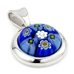 Sterling Silver Millefiori Pendant on Rolo Chain ~ Blue
