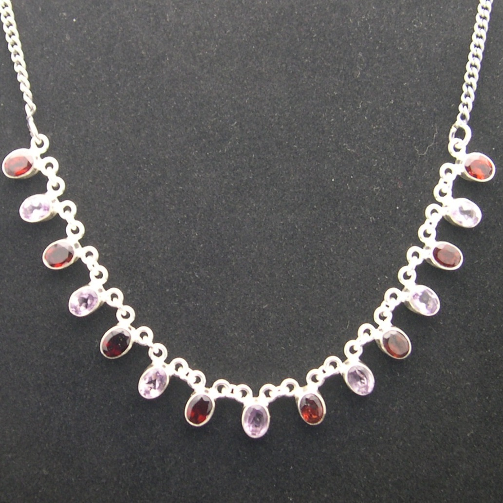 Artist-Crafted Sterling Silver & Amethyst Garnet Chain Necklace
