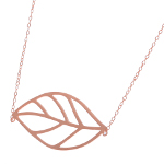 14K Rose Gold Plate on Sterling Silver Natural Leaf Necklace