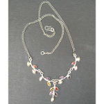 Artist-Crafted Sterling Silver & Mixed Gemstone Leaf Necklace