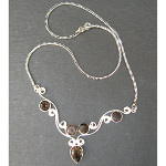 Artist-Crafted Sterling Silver & Smoky Quartz Chain Necklace