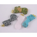 Mixed Gemstone Musical Note Pendants