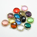 Mixed Small Faceted Circular Glass Brass Wrapped Charm Pendants