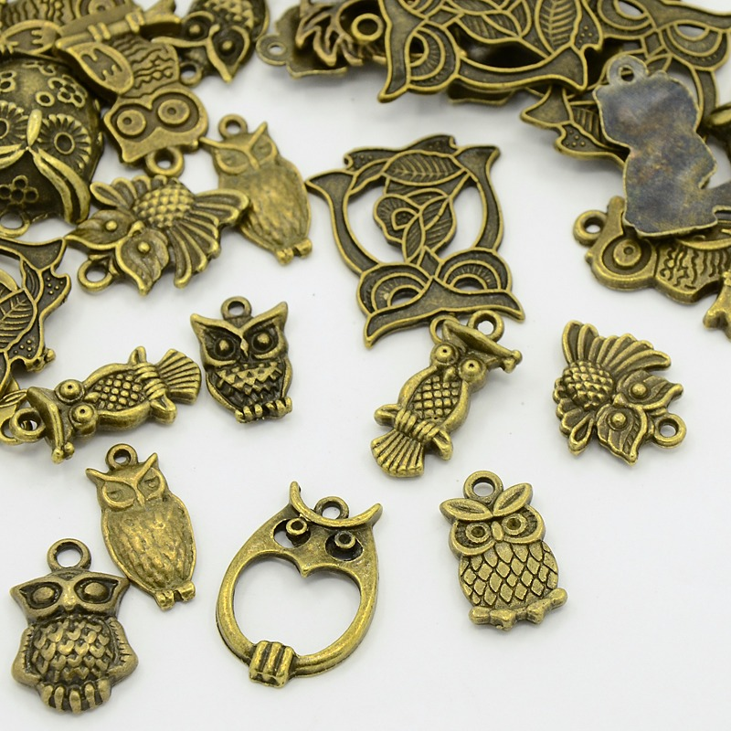 Mixed Figural Owl Small Charm Pendants ~ Bronze Tone