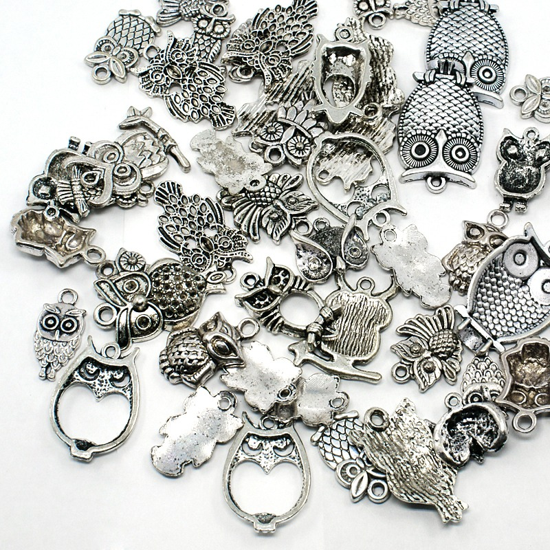 Mixed Figural Owl Small Charm Pendants ~ Silver Tone