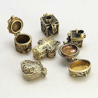 Mixed Antiqued Gold Tone Prayer Poison Pill Box Pendants