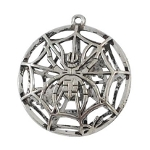 Silver Tone Two-Sided Spider Web Pendant