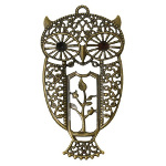 Antique Victorian Style Bronze Tone Reticulated Owl Pendant