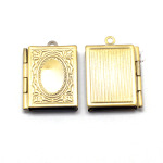 Solid Bright Brass Leather Bound Book Locket Pendant ~ Small