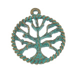 Aged Verdigris Brass Tree of Life Small Pendant