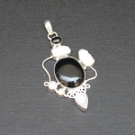 Artist-Crafted Sterling Silver & Black Onyx MOP Pendant