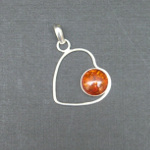 Artist-Crafted Sterling Silver & Genuine Amber Heart Pendant