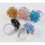 Mixed Crystal Flower Blossom Adjustable Ring