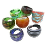 Mixed Colors Hand-Made Lampwork Murano Art Glass Ring