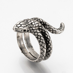 Adjustable Coiled Snake Silver Tone Ring