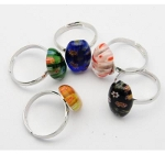 Mixed Adjustable Modern Funky Millefiori Art Glass Cabochon Ring
