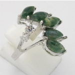 Silver Plated Ring with Genuine Moss Agate Stones
