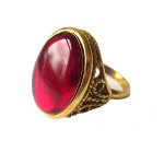 Vintage 1930&#39s Style Gold Tone Adjustable Ring Ruby Glass Cab