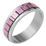 Multi Colored Stainless Steel Rings w/ Inserts Blue Pink Violet