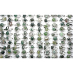 Mixed Silver Tone Green Moss Agate Gemstone Rings