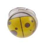 Tempered Convex Glass Lady Bug Adjustable Ring