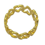 Bright Solid Brass Gold Tone Heart Ring