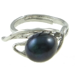 Adjustable Freshwater Pearl in Leaf Silhouette Ring ~ Black