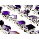 Mixed Silver Tone Amethyst Gemstone Rings