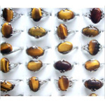 Silver Tone Rings Genuine Tiger&#39s Eye Cabochon Mixed Sizes