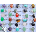 Mixed Genuine Gemstone Cab Silver Tone Rings