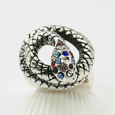 Tibetan Silver Coiled Snake Ring Rhinestone Accents