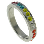 Silver Tone Ring with Multi-Colored Rhinestones Size 9