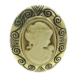 Victorian Style Gold Tone Cameo Adjustable Cocktail Ring